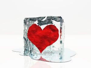 Heart frozen in ice